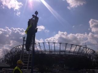 prace podczas budowy Stadionu Narodowego